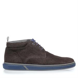 Floris van Bommel Floris Casual DarkBrown PrintSuede 20350/18